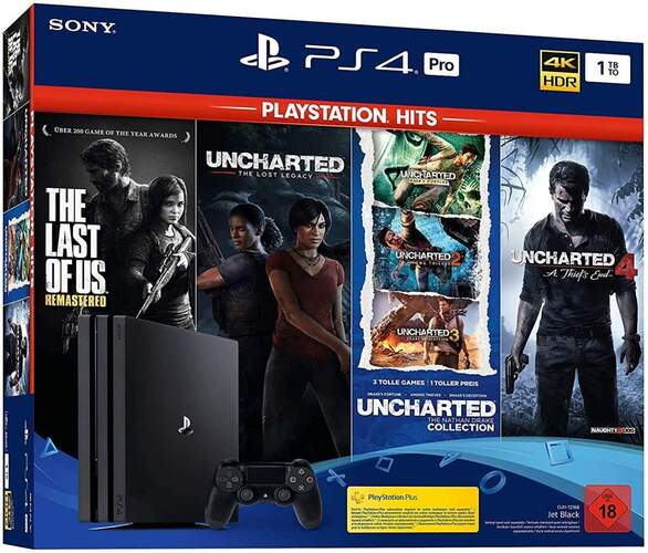 Consola Sony PS4 Pro 1TB + 6 Juegos - The Last Of Us, Uncharted, Ratchet, Clank Hits, Hits GT Sport